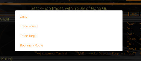 The Trade Route menu